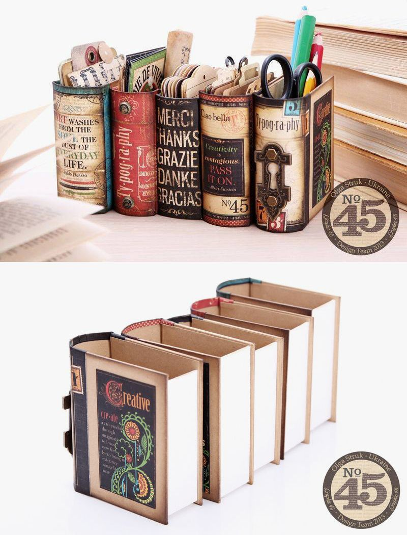 Desk organizers made from book boxes and Graphics 45 scrap