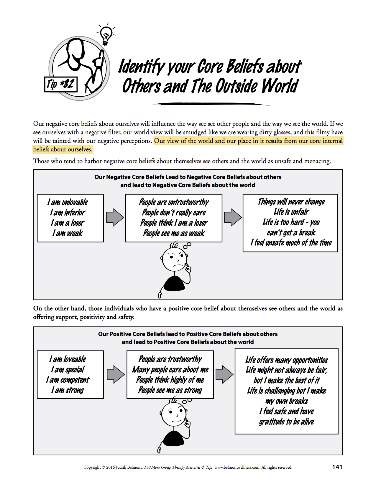 Worksheets To Help Us Think Straight To Feel Great
