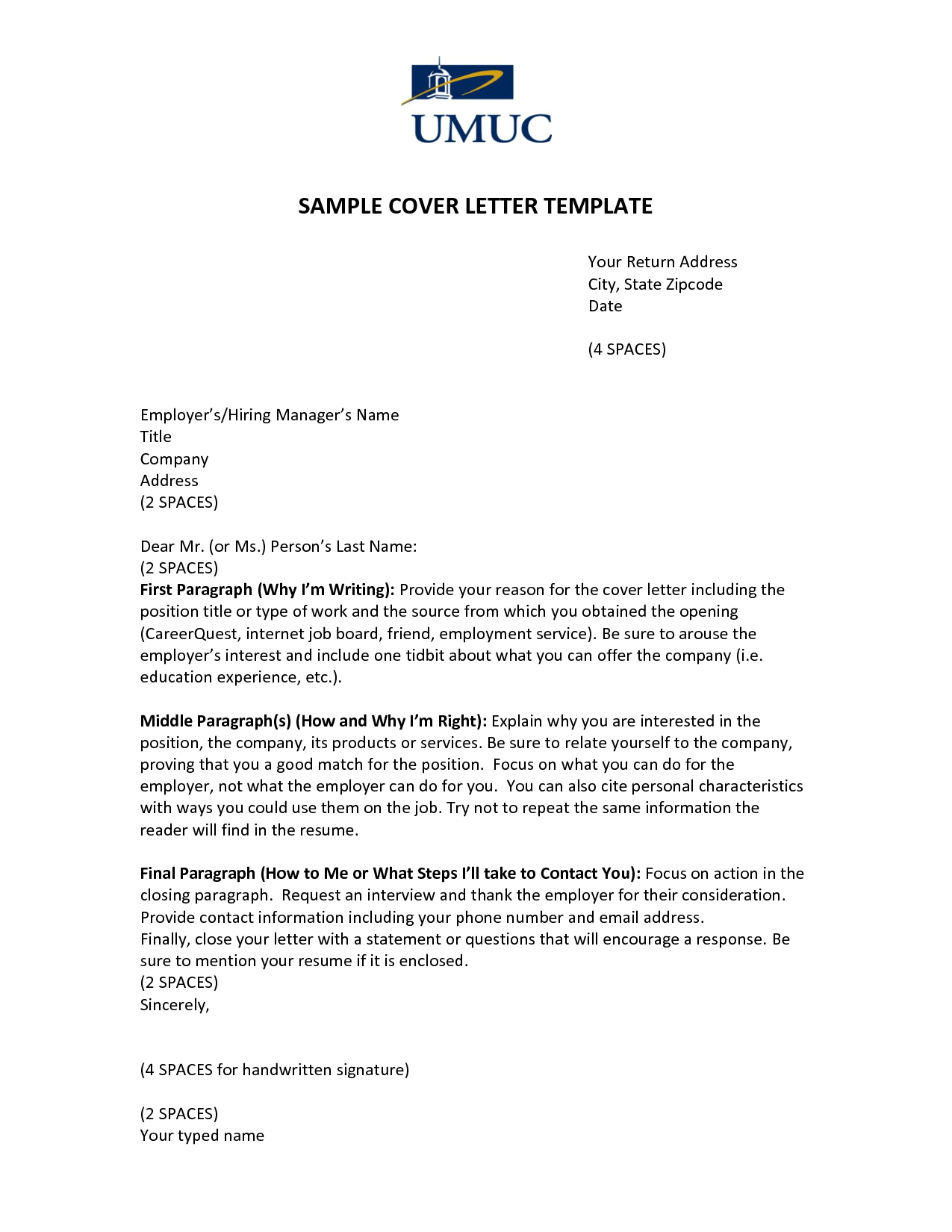 SAMPLE COVER LETTER TEMPLATE UMUCover Letter Template