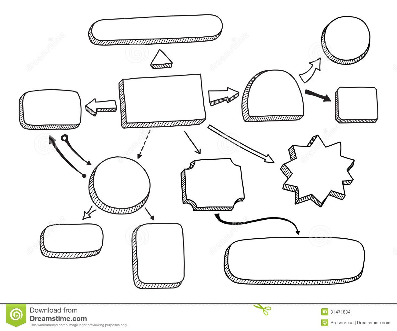Flowchart Vector Illustration Hand Drawn Mind Map Space Your Text Isolated White Background