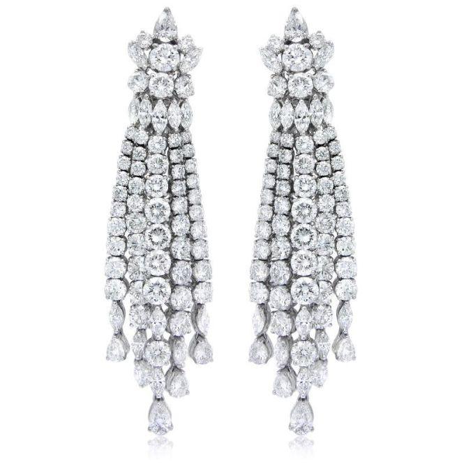 18 75ct Diamond 18k White Gold Chandelier Earrings
