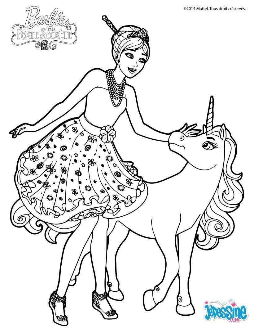 Coloriage Barbie Alexa et le bébé licorne colouring