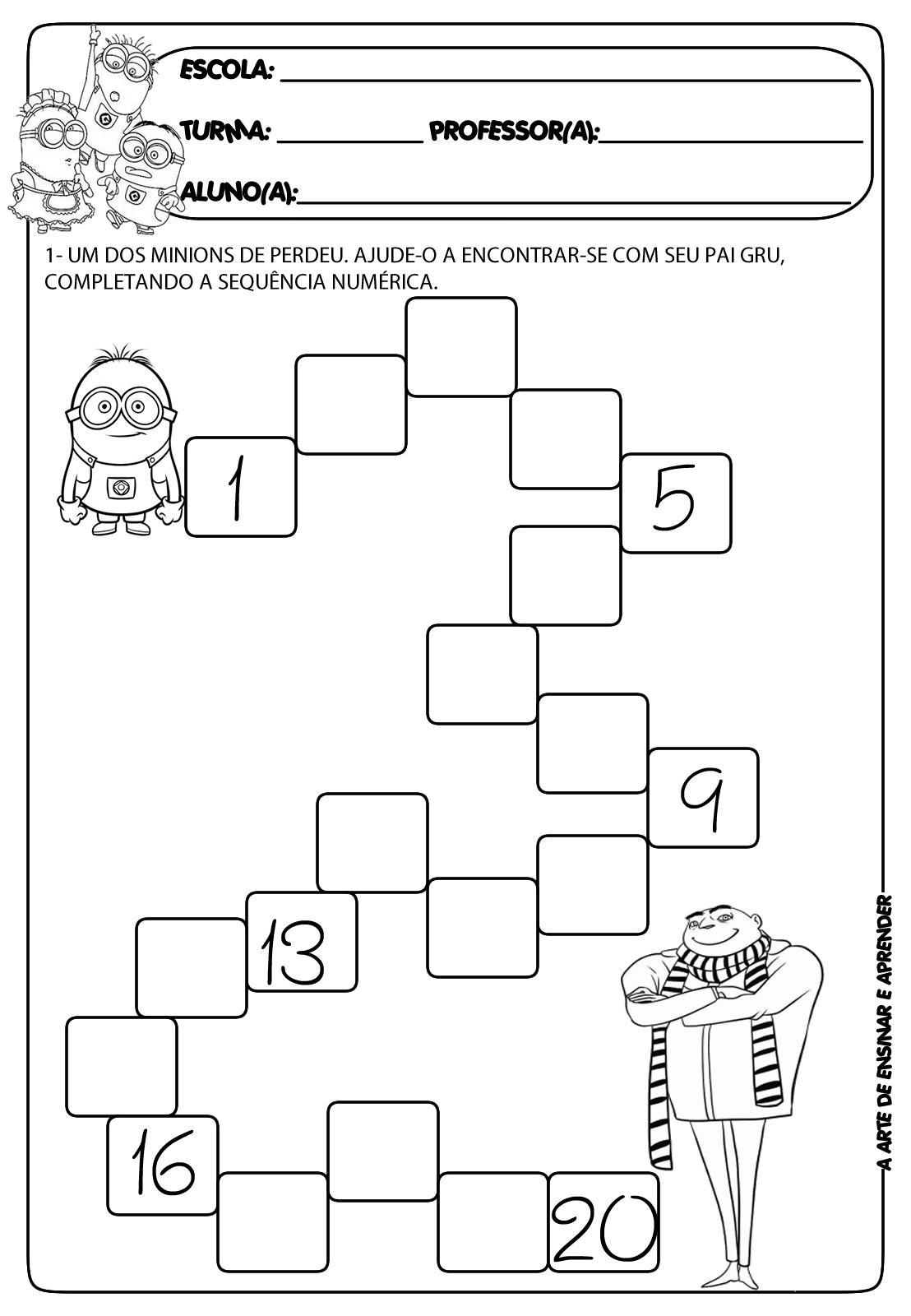 Atividade De Sequencia Numerica Com Tematica