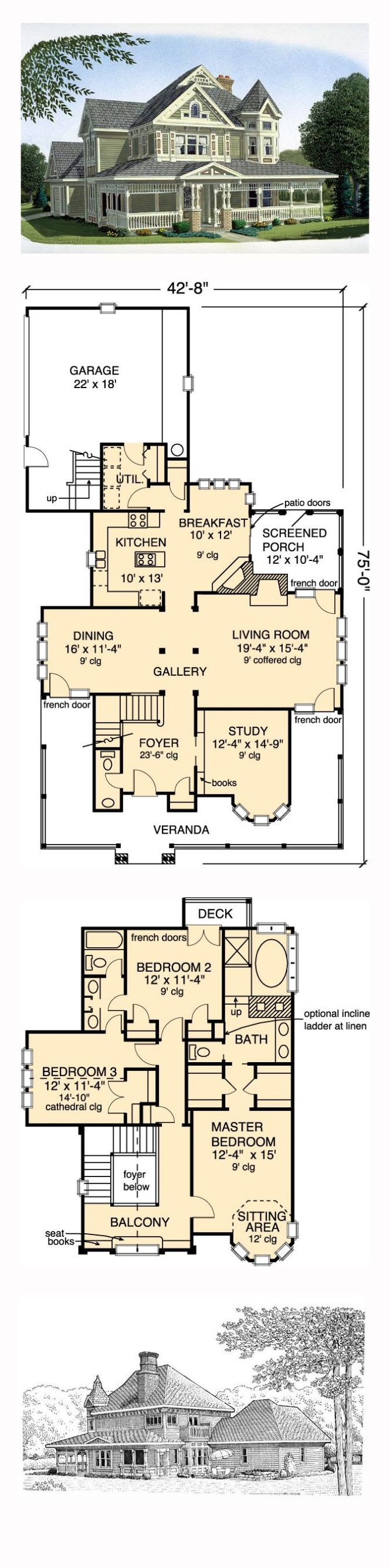 Victorian House Plan 95540 Total Living Area 2312 Sq Ft 3