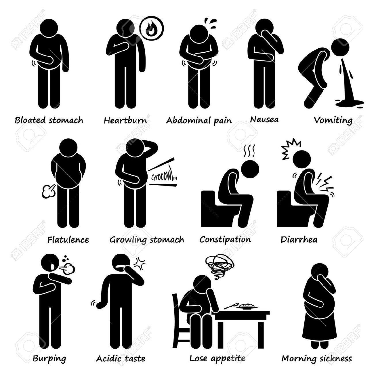 Indigestion Symptoms Problem Stick Figure