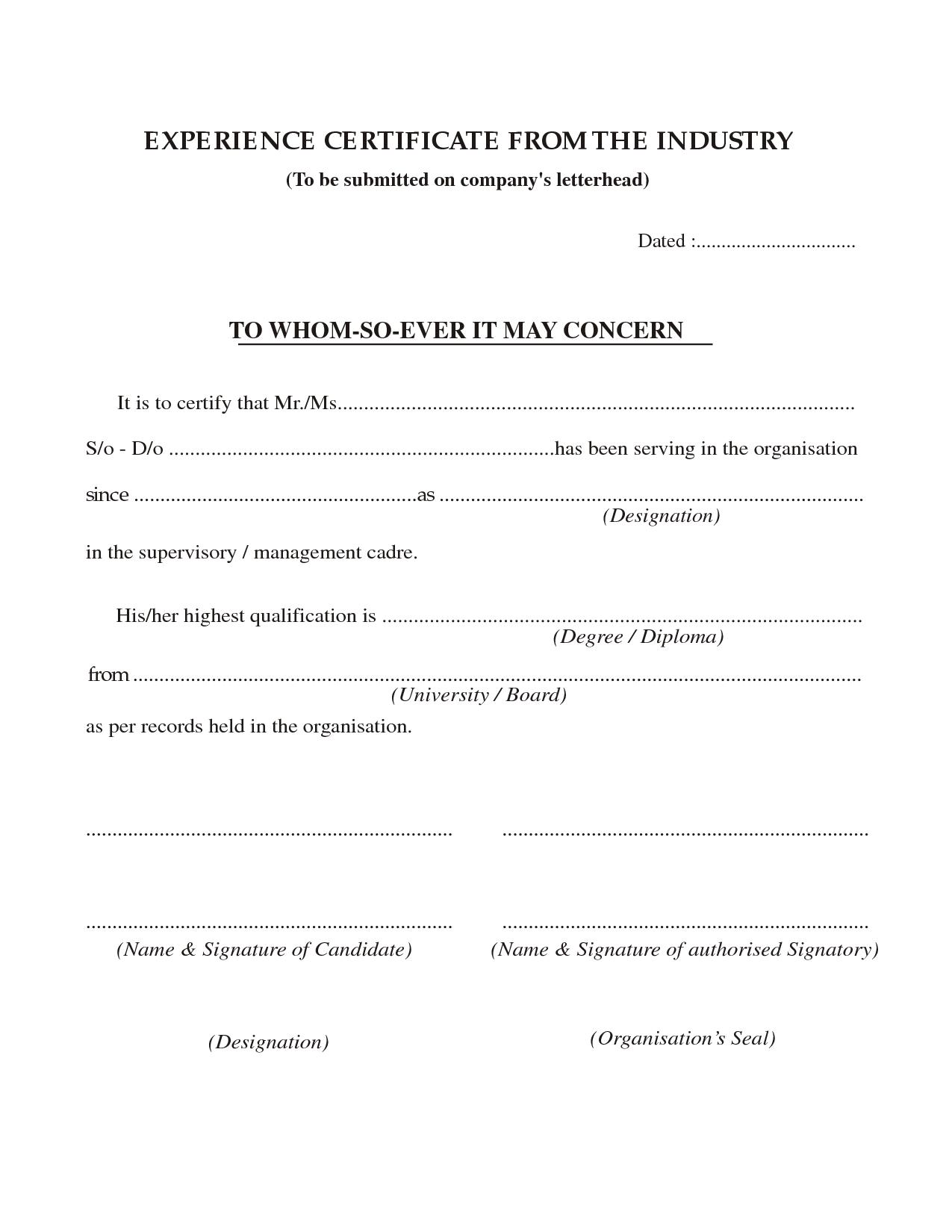 Experience Certificate Template internship sample work – Work Done Certificate Sample
