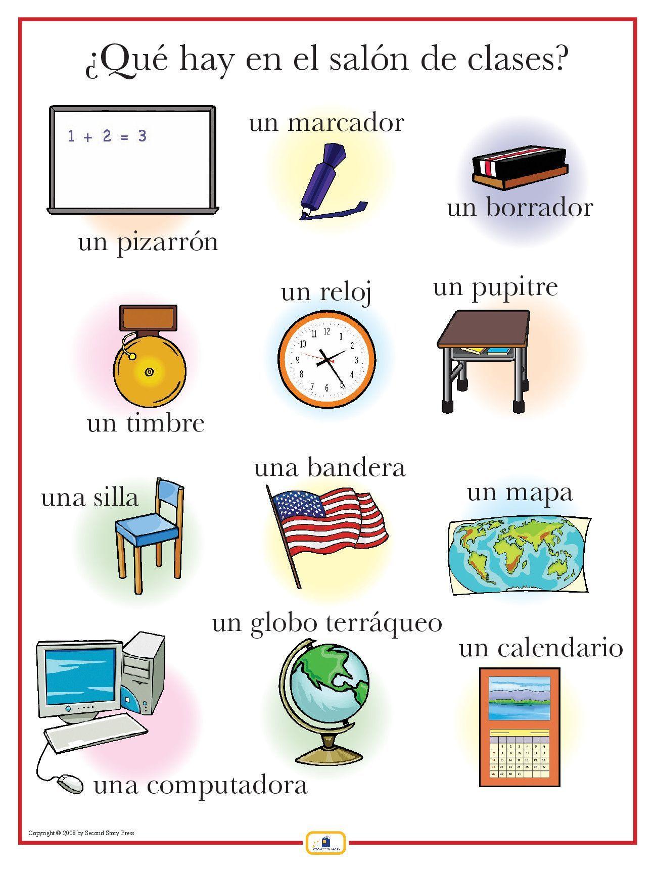 Spanish Classroom Items Poster
