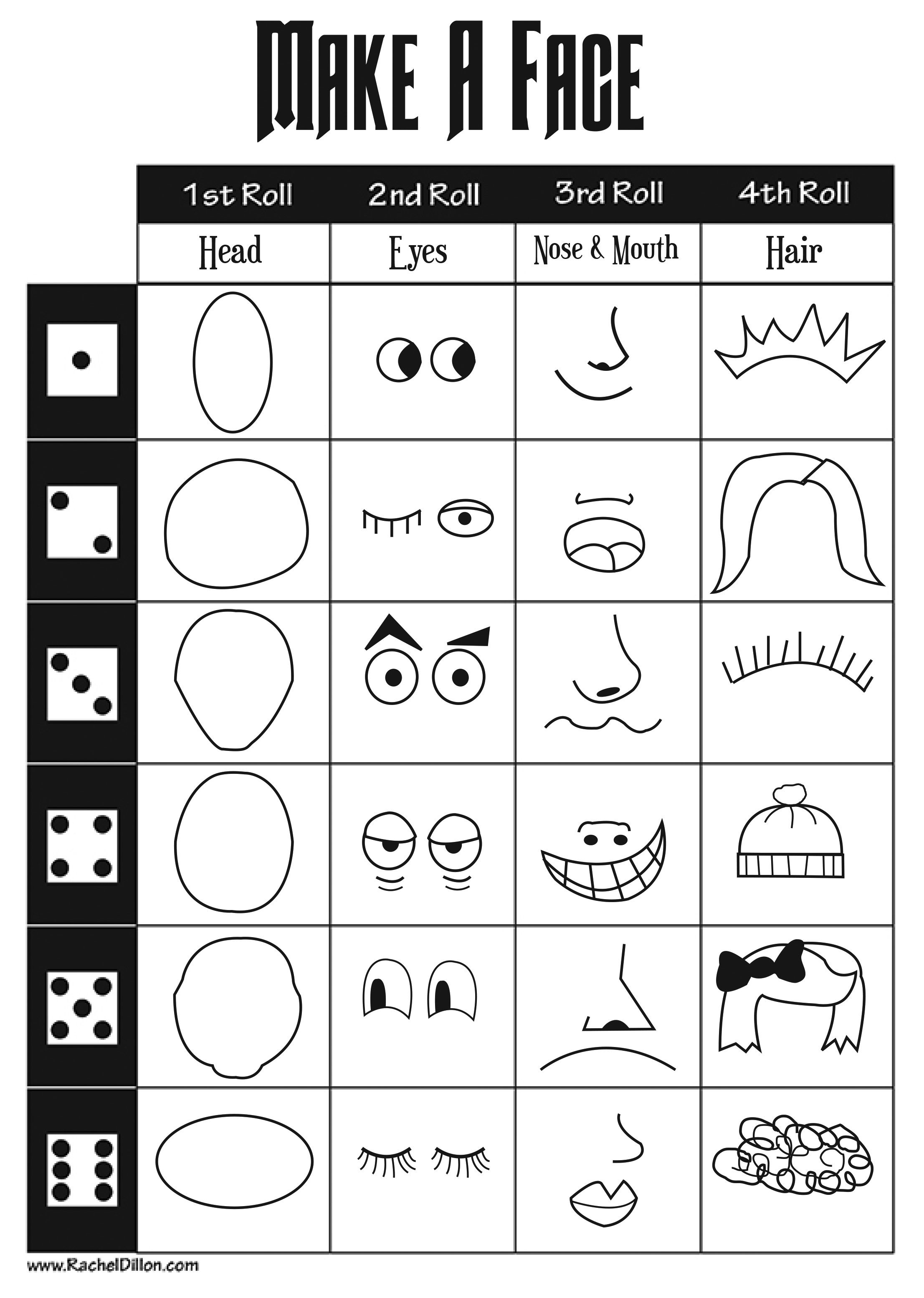 Make A Face Dice Game For Kids To Do This Is Great To Keep Kids Occupied When They Finish Their