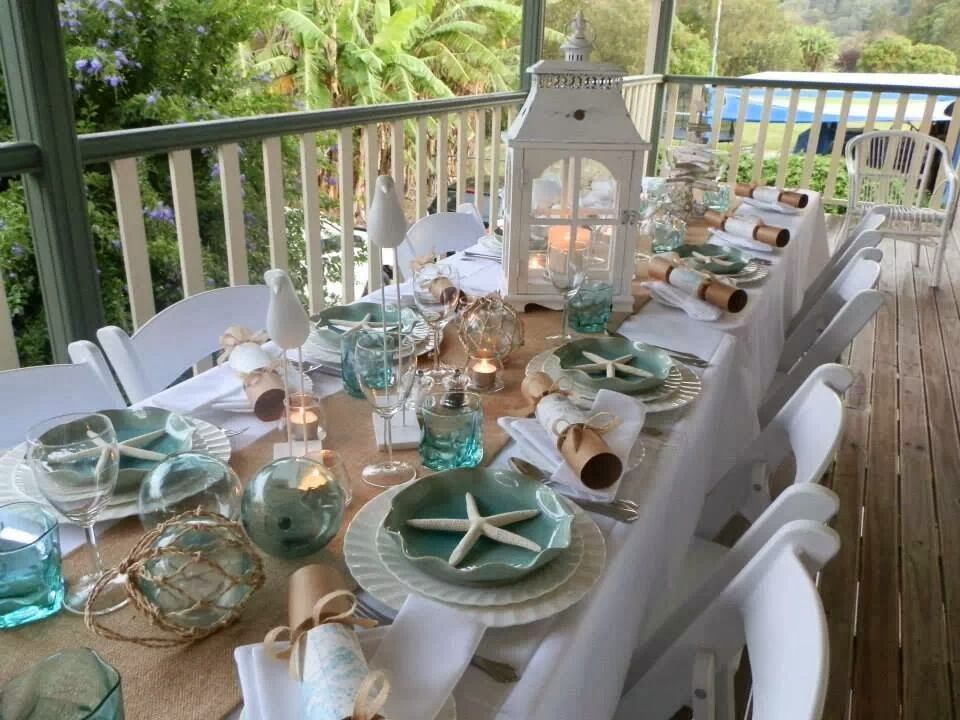 Table scape for a seafood dinner, but would be so pretty