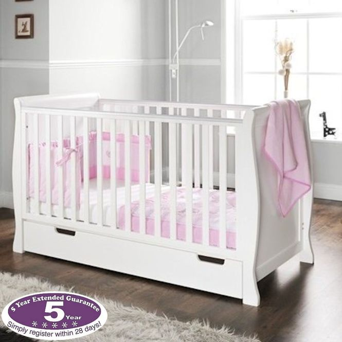 New Obaby White Wood Sleigh Cot Baby Cotbed With Drawer Sprung Deluxe Mattress