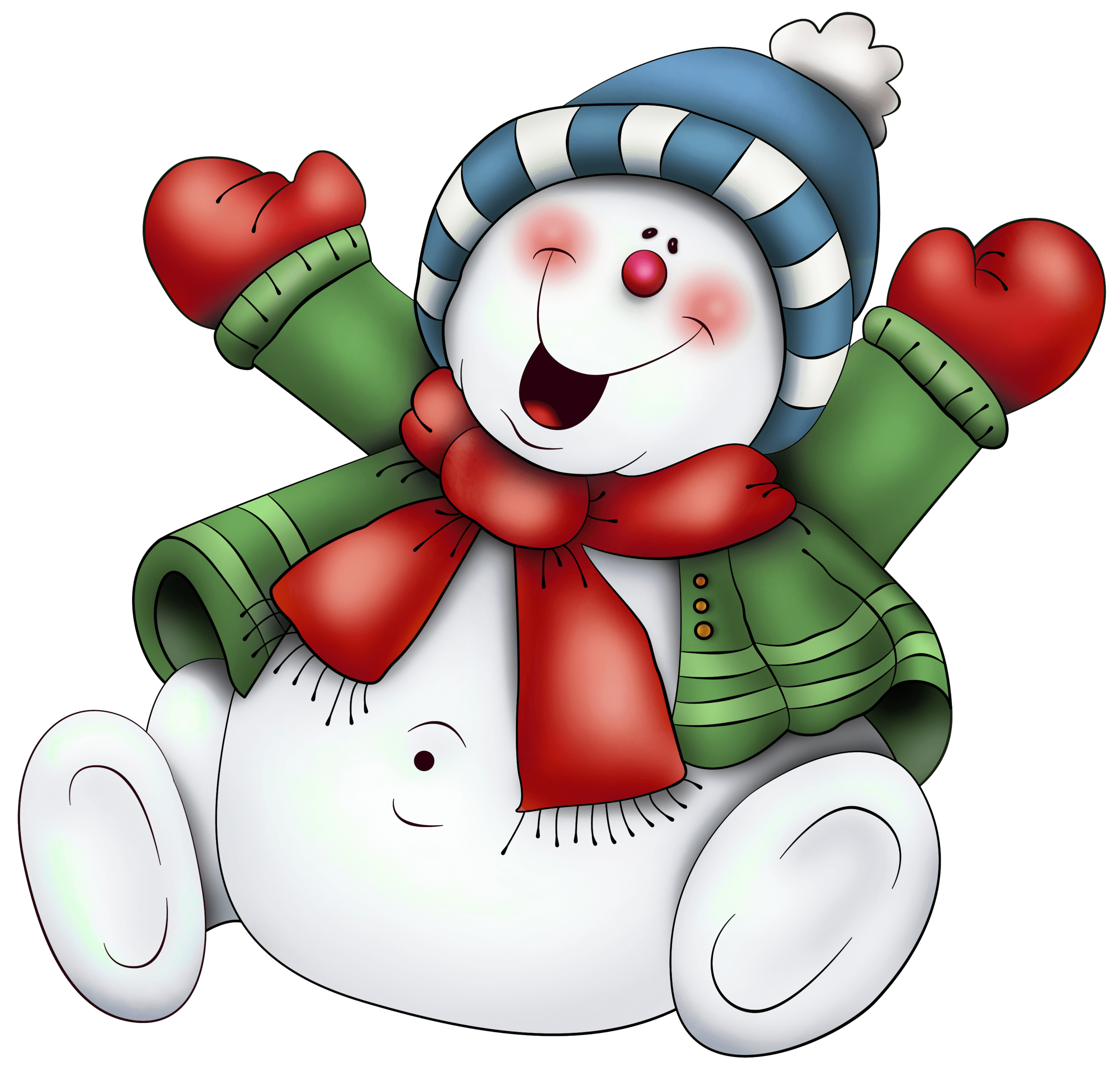 Snowman with Scarf PNG Clipart (use on transparencies
