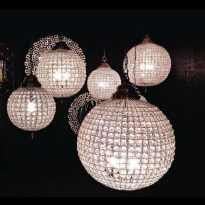 Cognac Pewter Crystal Ball Chandelier 3 Sizes