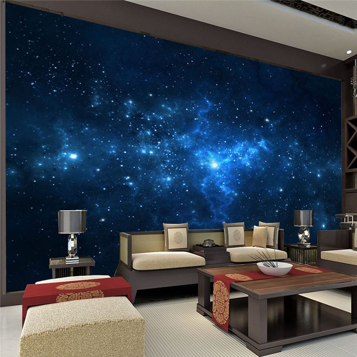 blue galaxy wall mural beautiful nightsky photo wallpaper custom