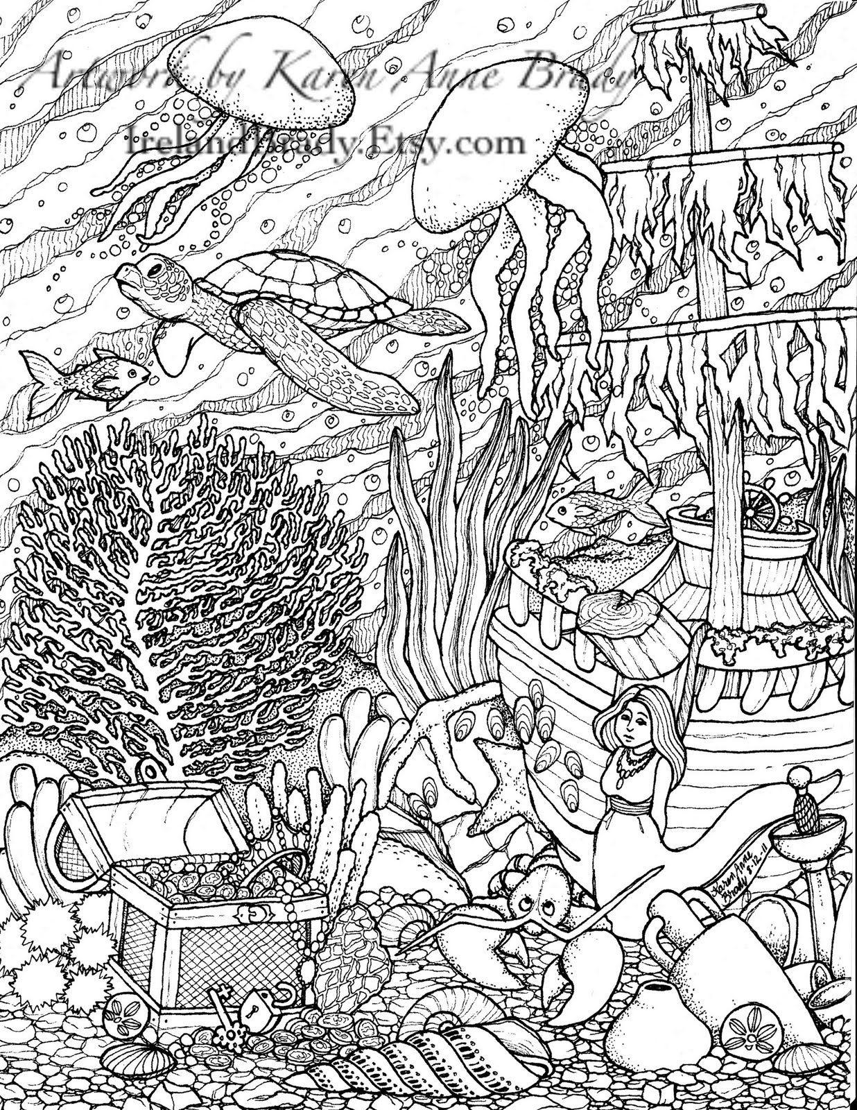 Humming Belles Undersea Coloring Panel Number Three