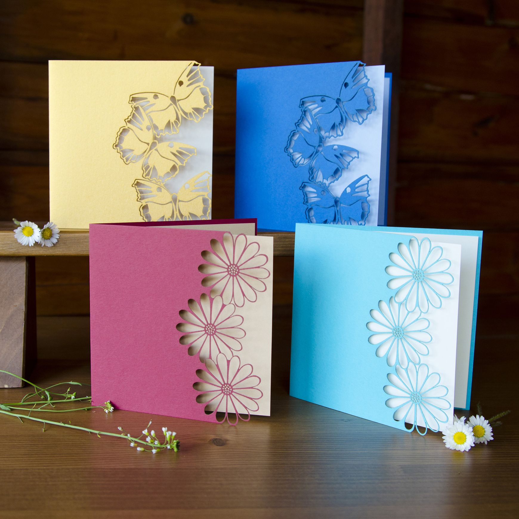 handcrafted cards beautiful color. butterfly or