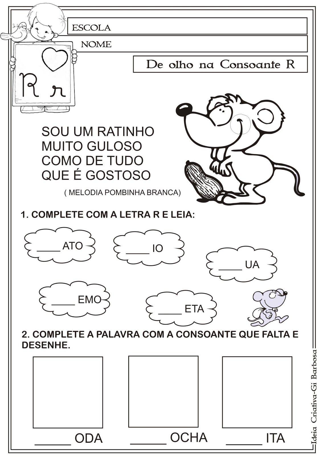 Atividade Letra R Texto Em Verso