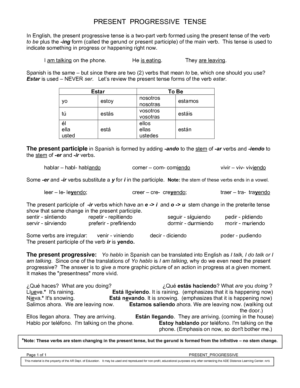 Present Progressive Regular And Irregular Verbs R2 3b