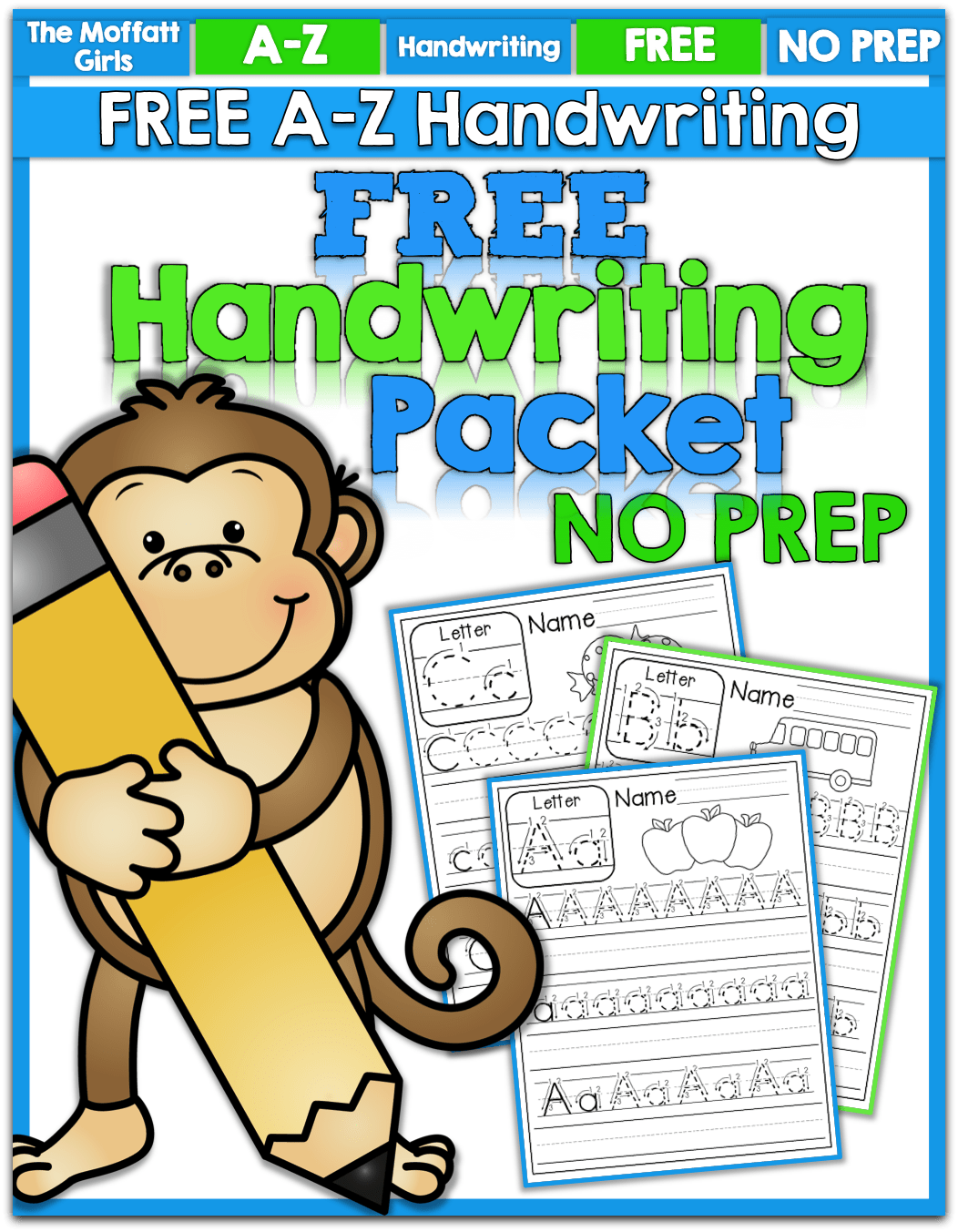 Freebie A Z Handwriting Practice Pages Just Print And Place In Sleeve Protectors