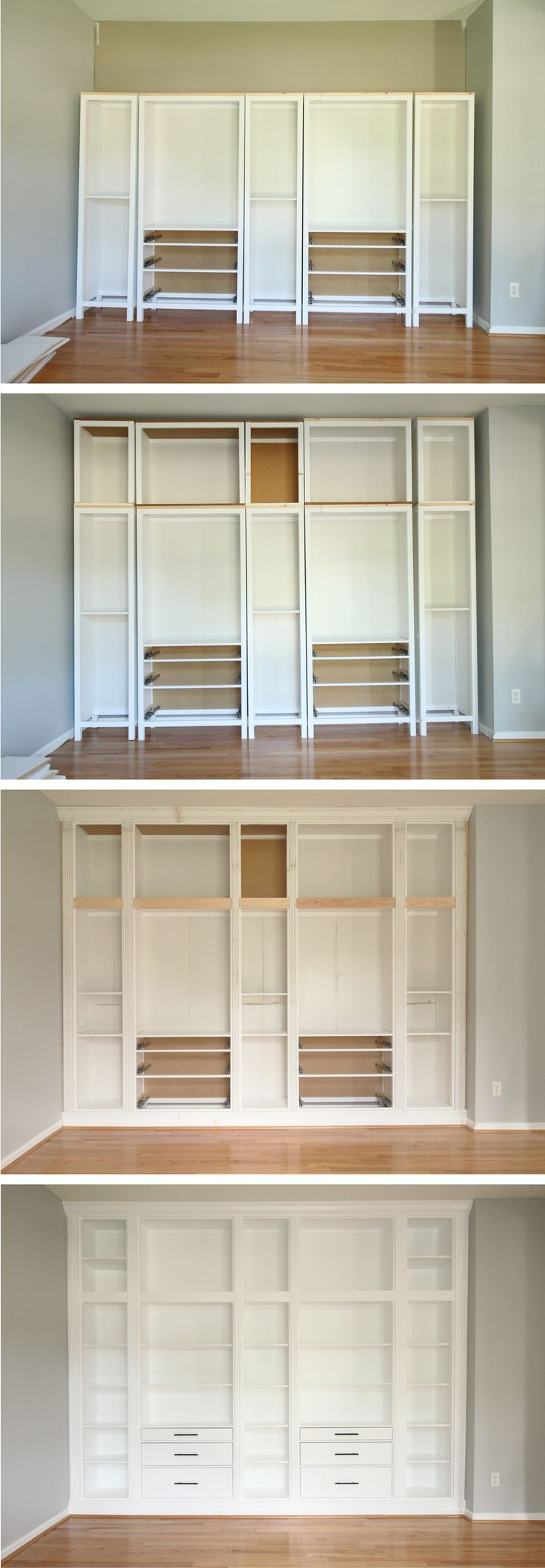 IKEA HACK DIY BUILTIN BOOKCASE with Hemnes furniture
