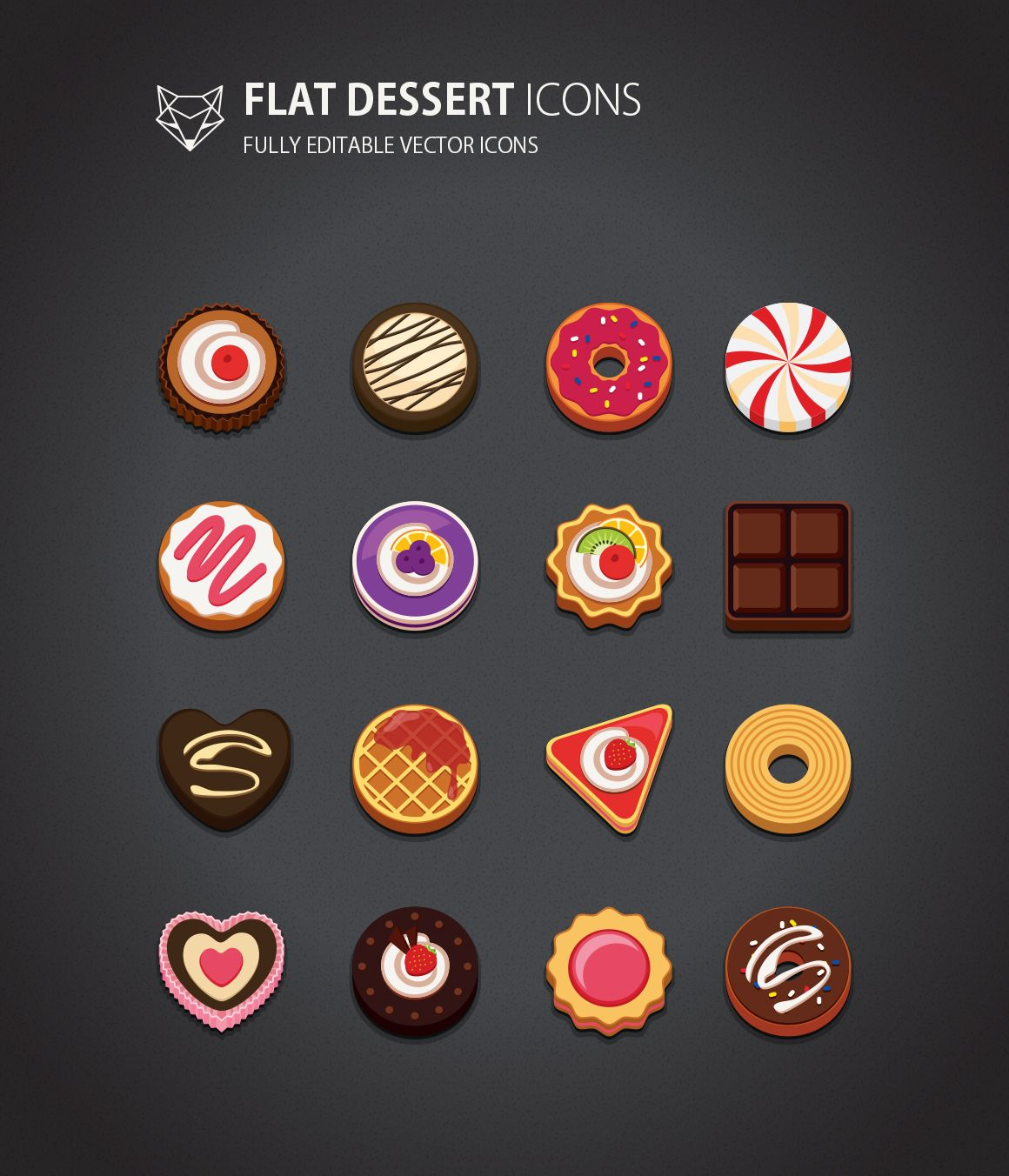 This is flat style Dessert Icons Set. it is cute and