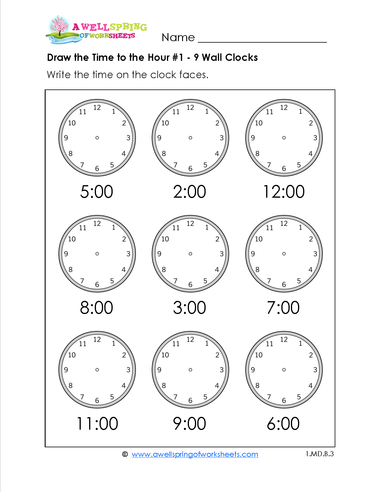 Draw The Time To The Hour Worksheets For First Grade Kids Draw The Hour And Minute Hands On
