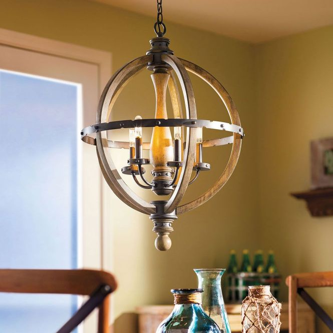 Kichler Five Light Distressed Antique Gray Up Mini Chandelier Finishfrom The Evan