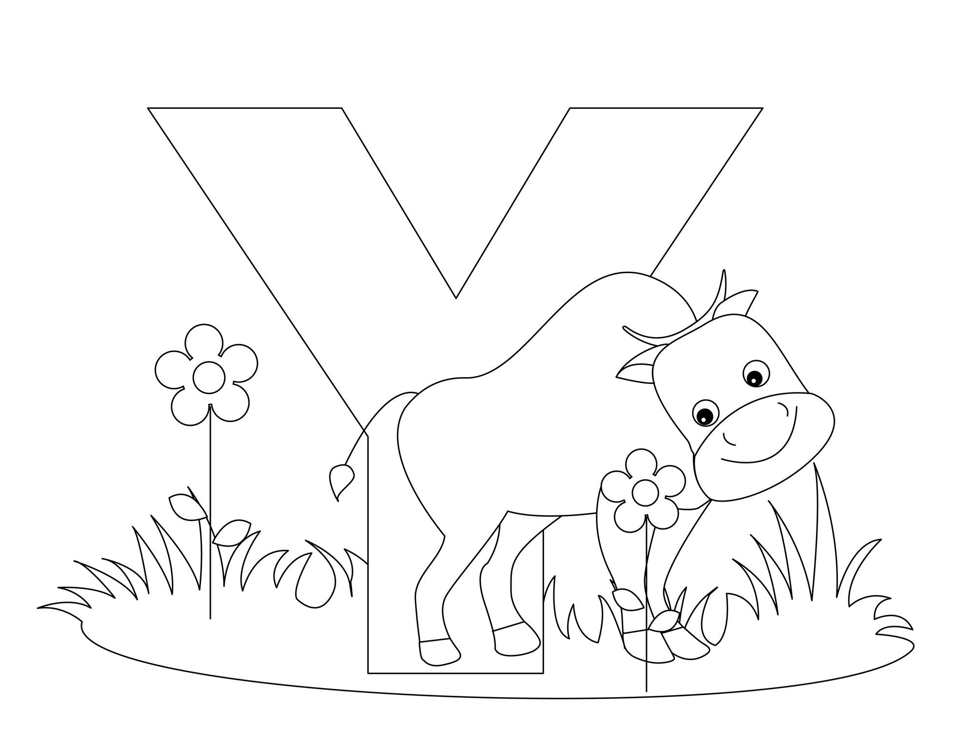 Animal Alphabet Letter Y Is For Yak Coloring Page