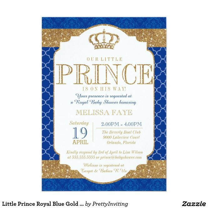 royal blue and gold baby shower invitations, Baby shower invitations