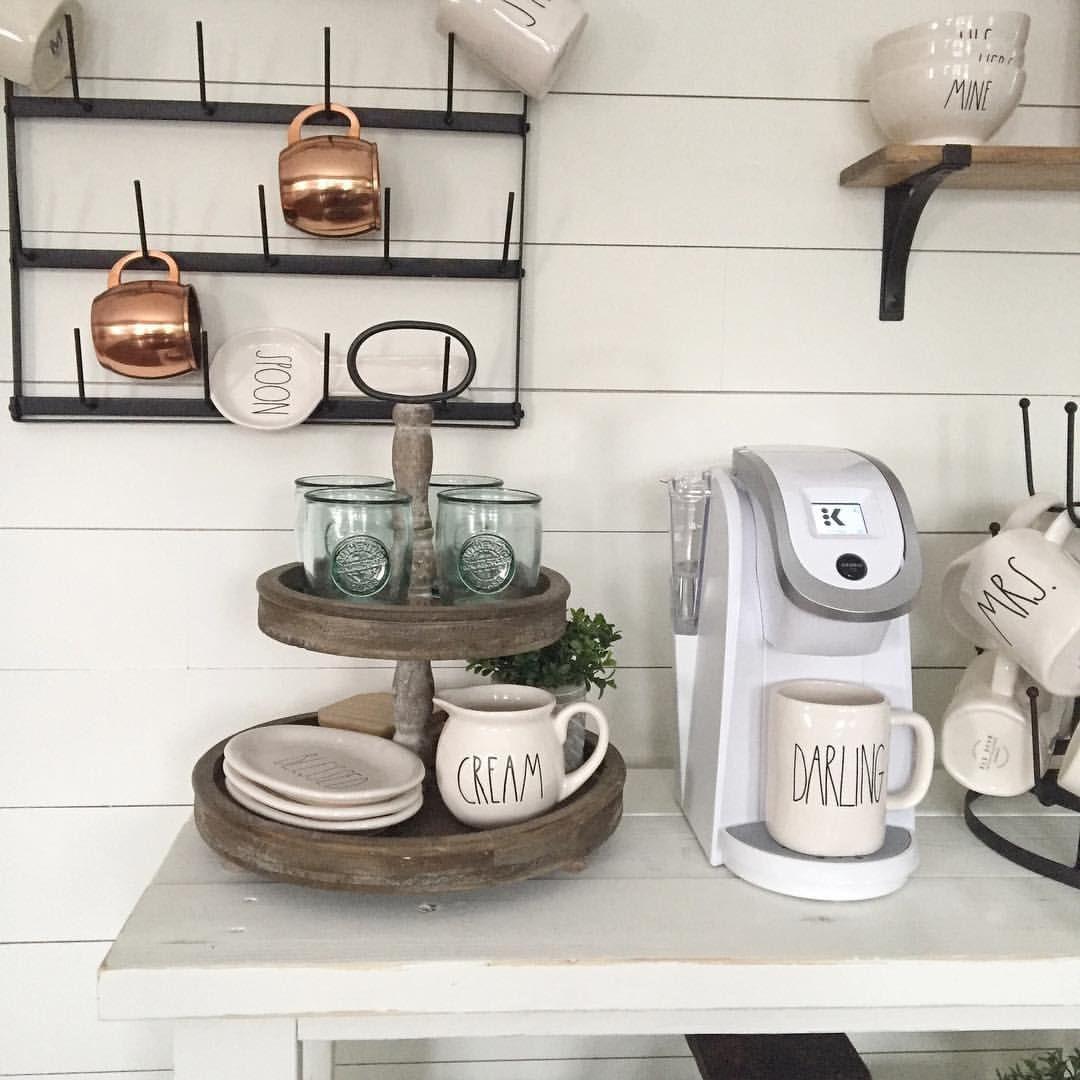 DIY shiplap and coffee bar decorating to display Rae Dunn