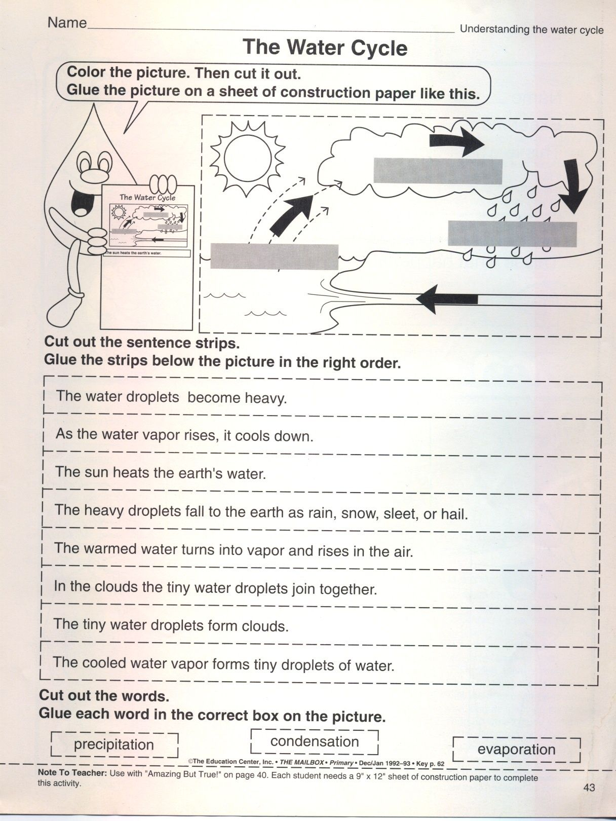 Put The Water Cycle In Correct Order Worksheet