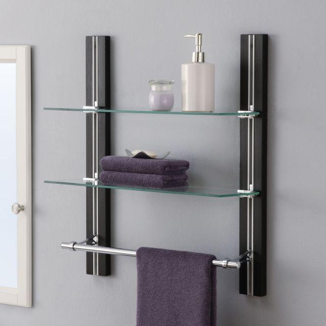 """OIA 19 63"""" W x 22 5"""" H Two Tier Bathroom Shelf with Towel Bar"""