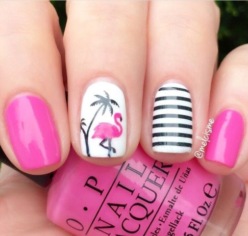 1. Fluorescent Flamingo - 50 Gorgeous Summer Nail Designs You Need To Try - Society19