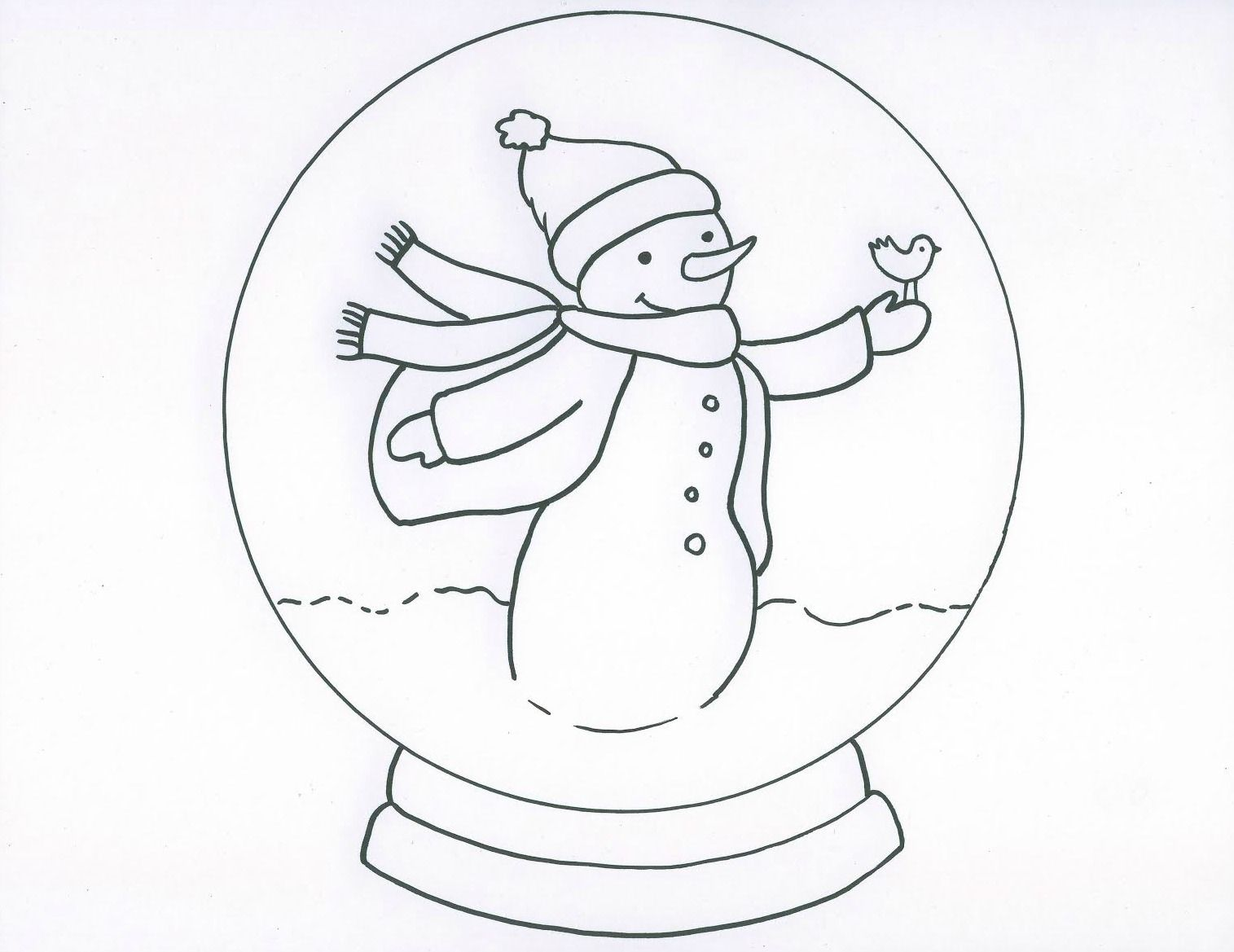 Winter Sketch For Kids Black And White Snow Globe