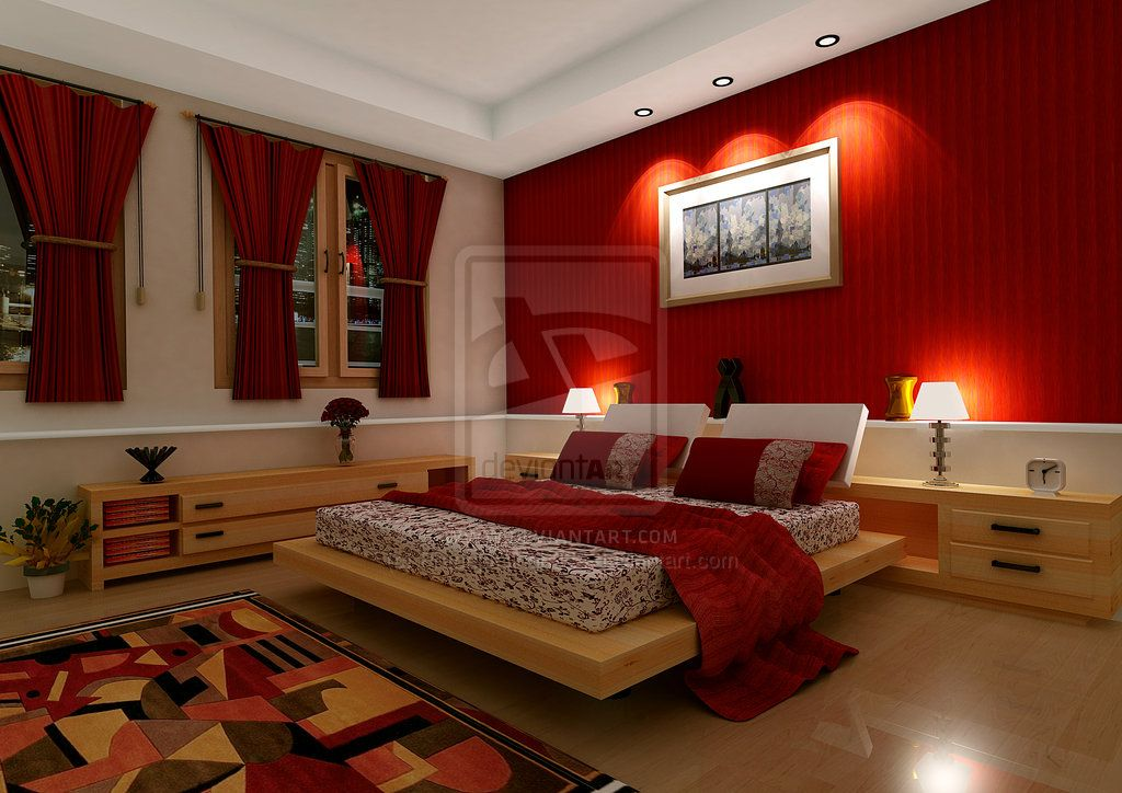 red-theme-bedroom-design-with-rug-and-wall-lamps-red-bedroom