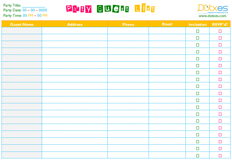 Guest List Spreadsheet Template best photos of guest list sheet – Sample Guest List