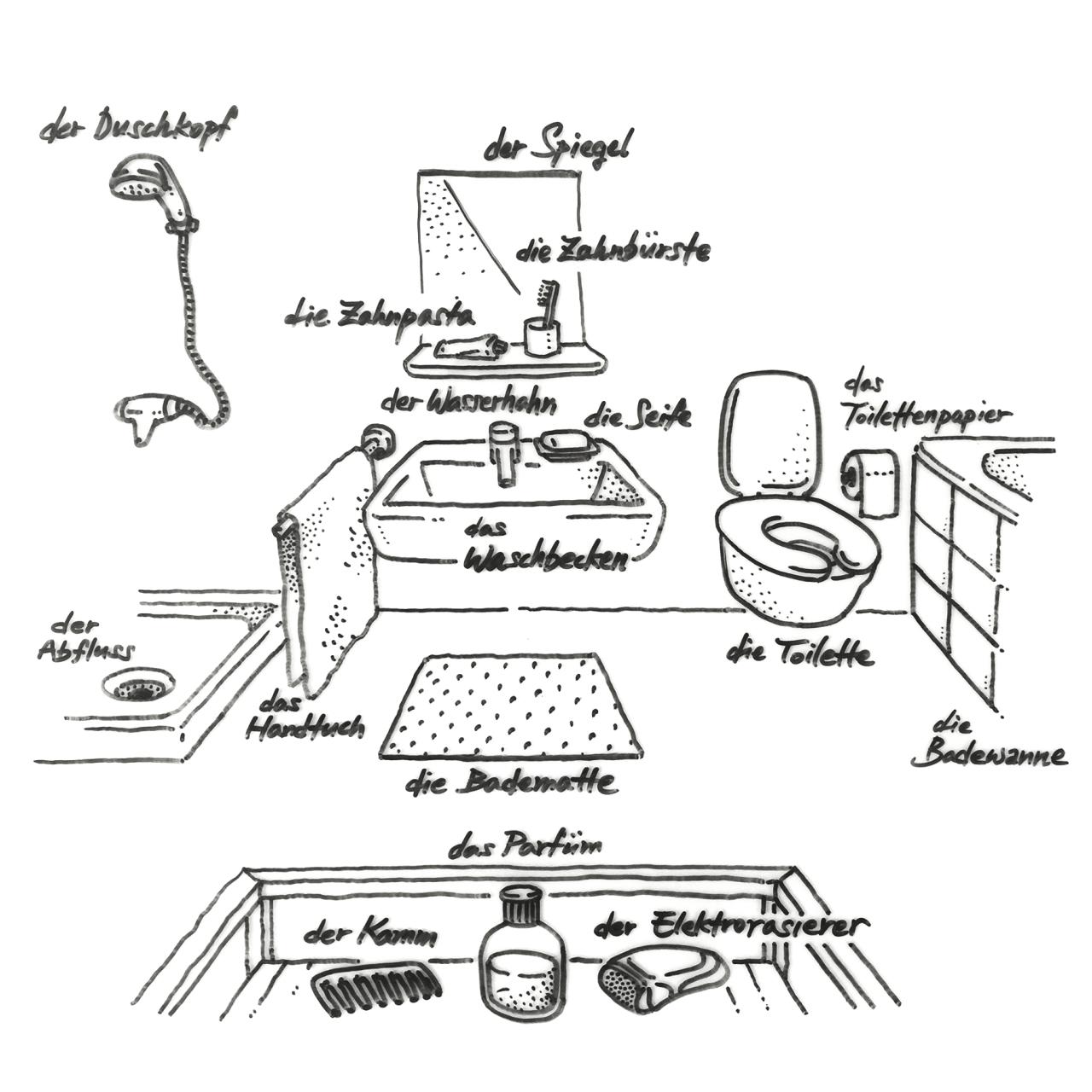 Handgezeichnetes Deutsch 008 Das Badezimmer
