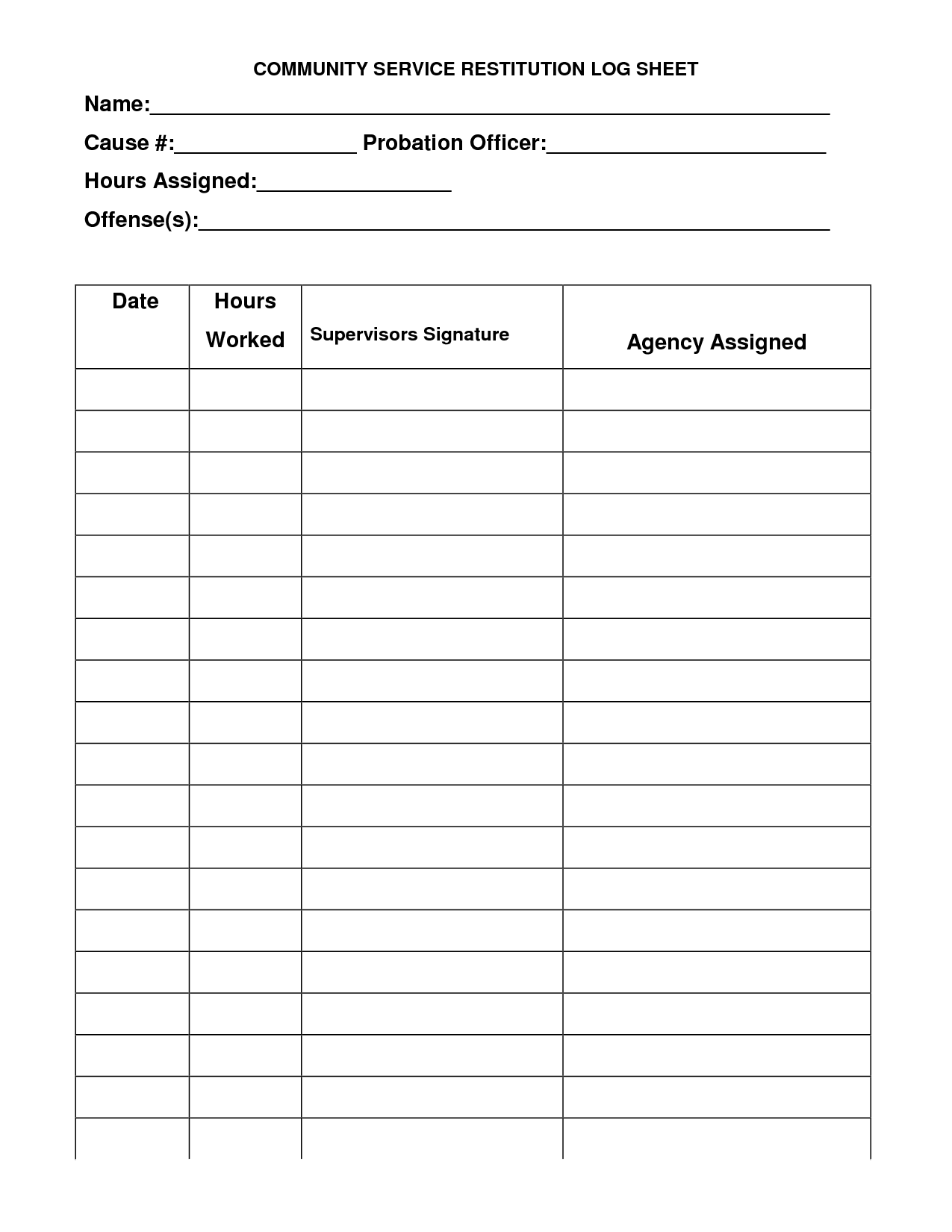 Community Hour Sheets