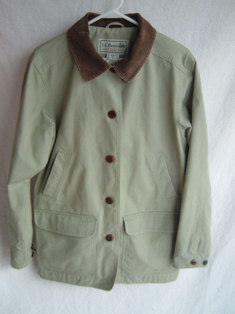 LL Bean Lined Barn Coat Jacket Sage Green Canvas Corduroy Trim Womens Medium Beans Barn And