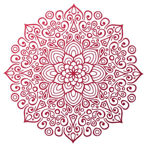 Red mandala outline Free Vector mandaly Pinterest
