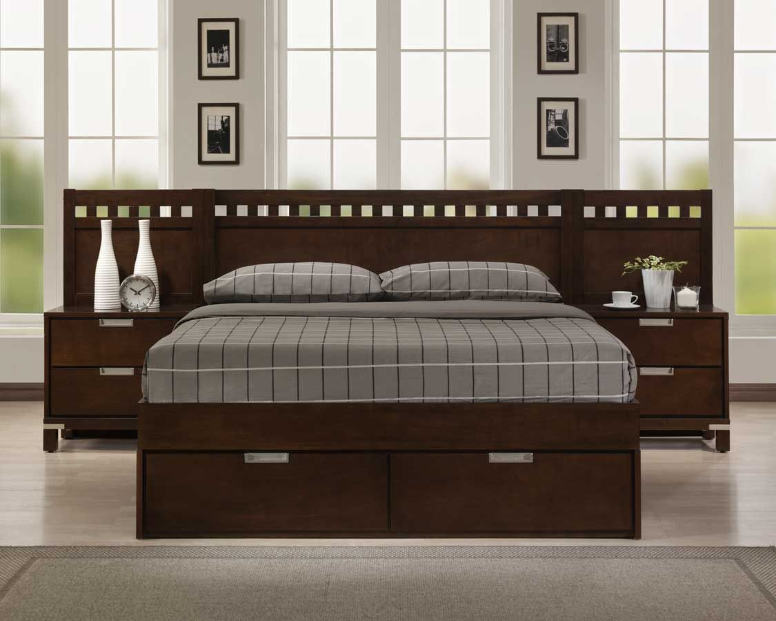 Bella Platform Storage Bed In Warm Brown Cherry