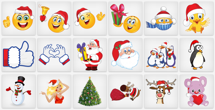 Great collection of Christmas emoticons and stickers for