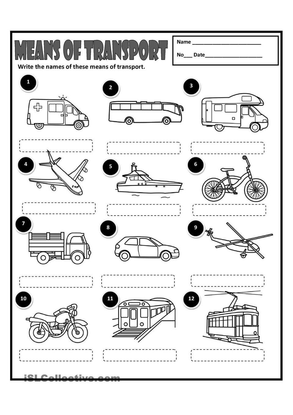 Image Result For Means Of Transportation Printable Worksheets