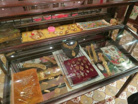 Peranakan jewelry on display at the Penang Peranakan Museum in George Town.