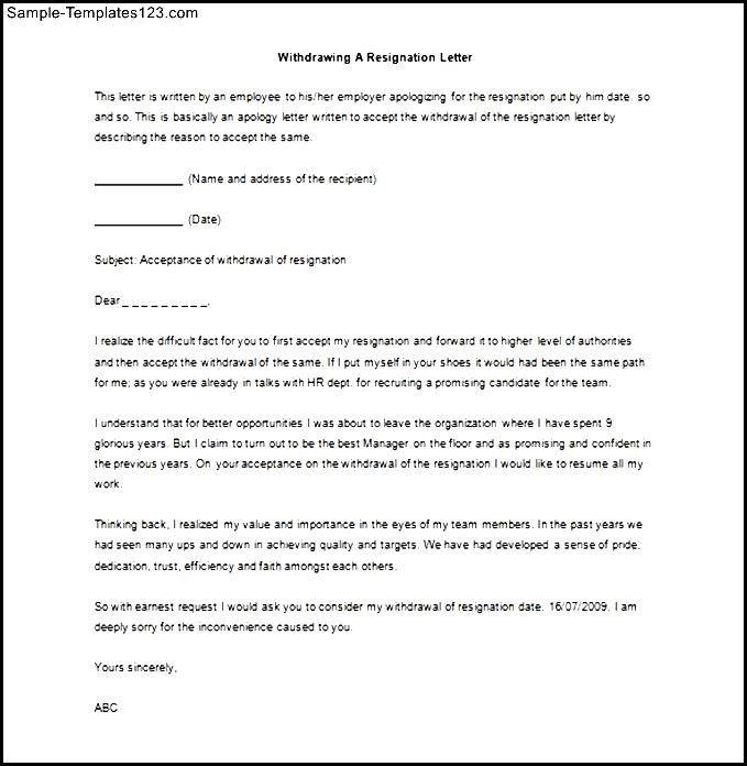 Sample letter acceptance withdrawal resignation textpoems resignation letter sample word doc templates s spiritdancerdesigns Images