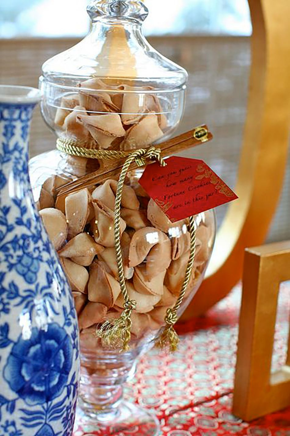 Jar filled with fortune cookies Japanese tea party