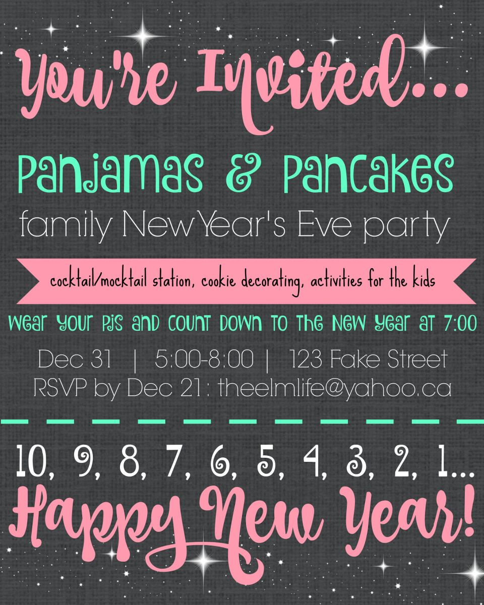 Pajamas & Pancakes family New Year's Eve party invitation