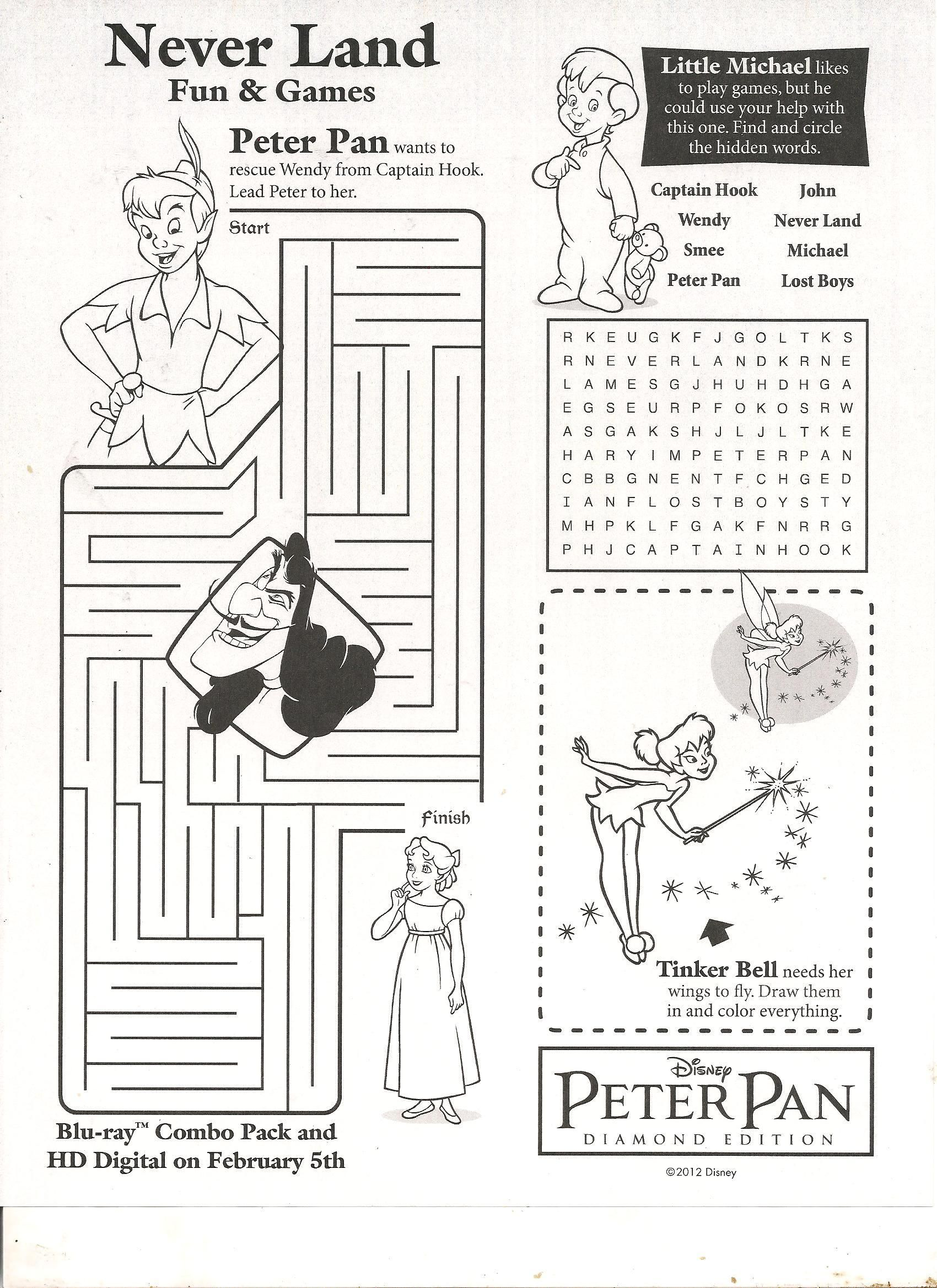 Peter Pan Tinkerbell And Captain Hook Coloring Pages For