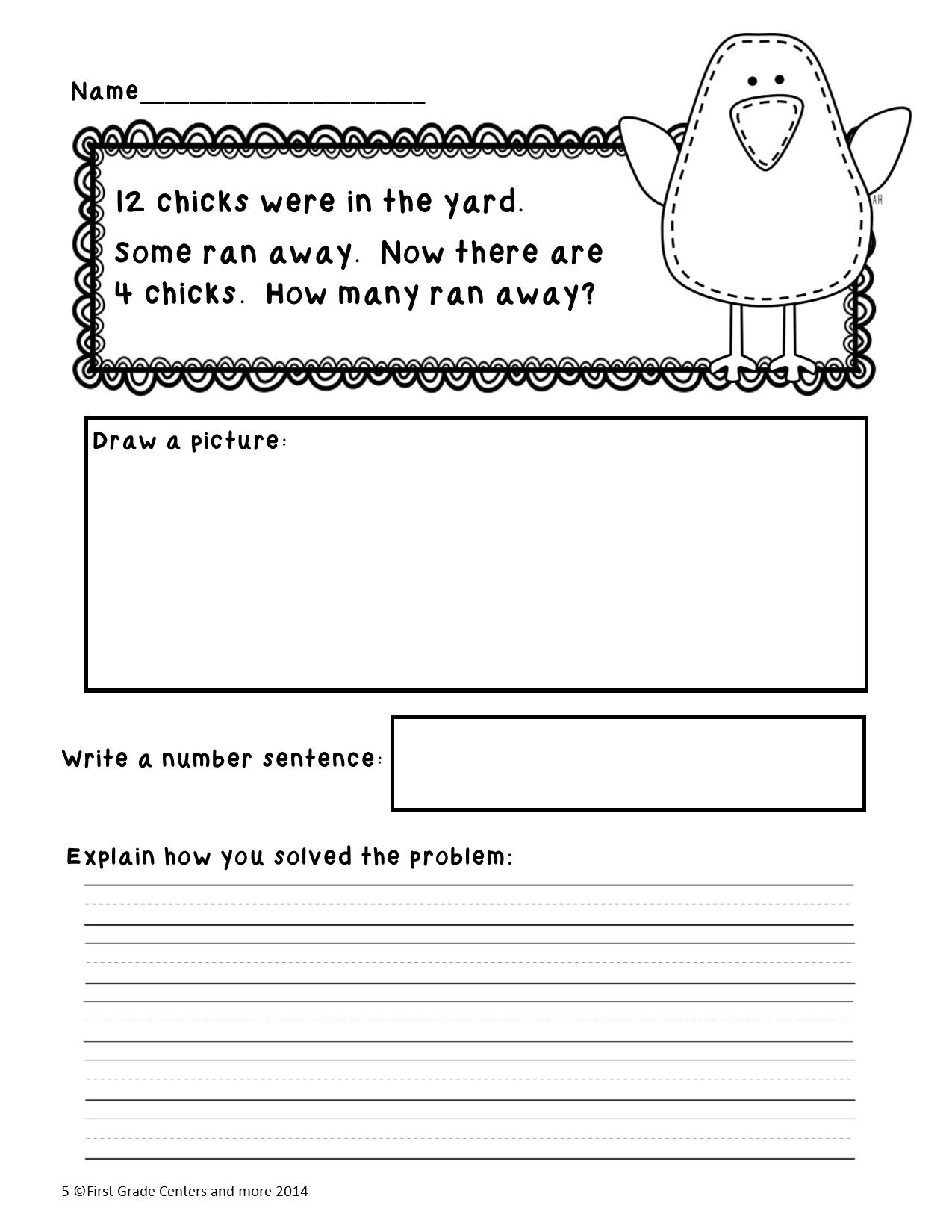 Math Problem Solving For Easter First Grade 1 Oa 1