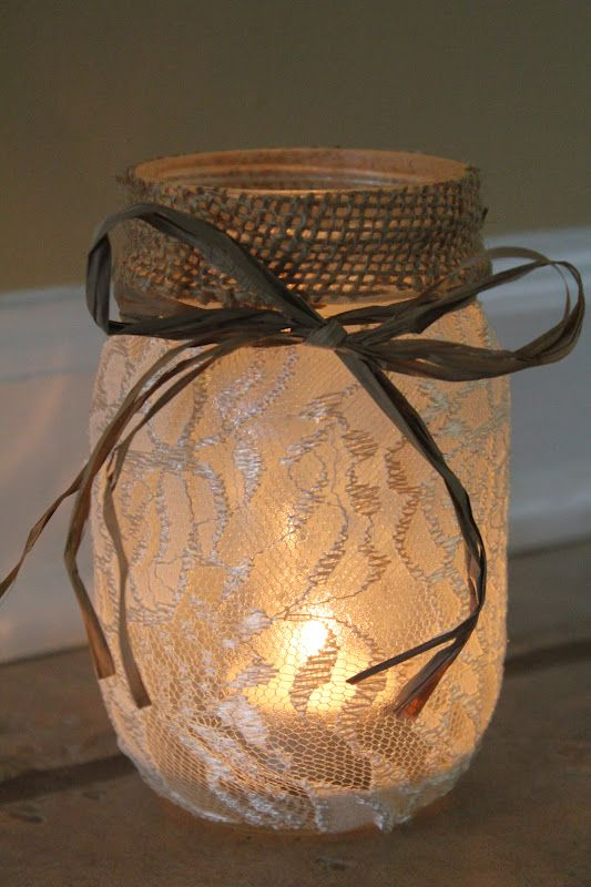 Lace Mason Jars On Pinterest Burlap Mason Jars Wedding