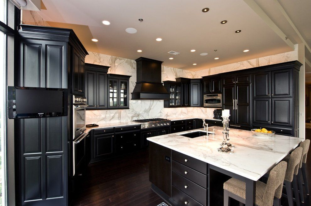 Picture of Dark Kitchen with White Countertop